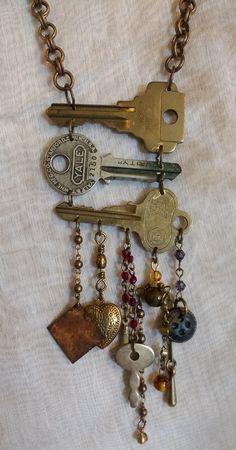 Key Jewelry, Funky Jewelry, Recycled Jewelry, Fabric Jewelry, Metal Jewelry, Boho Jewelry, Jewelry Crafts, Jewelry Art, Beaded Jewelry