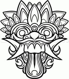 dragon masks to color chinese dragon mask drawing how to draw a balinese mask