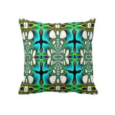 Aqua and Green Abstract American MoJo Pillow