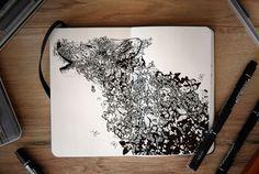 "mymodernmet: "" Joseph Catimbang's Surreal Hybrid Drawings Bloom and Burst Across Sketchbook Pages "" Ink Illustrations, Illustration Art, Pencil Drawings, Art Drawings, Books Art, Sketchbook Pages, Sketchbook Project, Moleskine, Doodle Art"