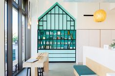 CHA:COL Designs Inviting Concept Stores for Walk-in Facials in Los Angeles Commercial Interior Design, Commercial Interiors, Spa Chair, Communal Table, Built In Bench, Los Angeles Homes, Swinging Chair, Retail Space, Shop Interiors