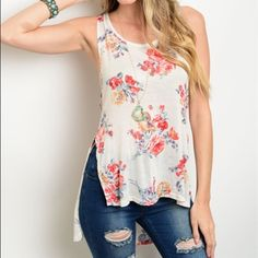 Gorgeous floral hi lo crochet detail tank! Split hi lo with scoop neck - crochet detail on back- long arm opening for bralette or tank - stunning floral piece! Tops Tank Tops