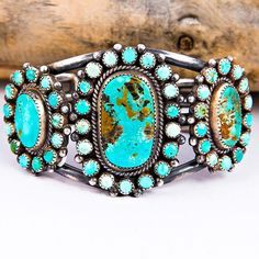 MIKE PLATERO Navajo Natural Turquoise CLUSTER Bracelet Sterling Silver Old Pawn