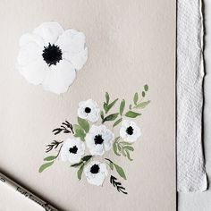 Flowers Garden Art How To Make Printing Jewellery Statement Necklaces Info: 9211172634 Anenome Flower, Watercolor Flowers, Watercolor Art, Small White Flowers, Floral Flowers, Monogram Painting, Wedding Painting, Flower Sketches, Aesthetic Painting