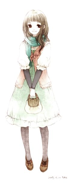 What a beautiful artwork of a mori girl. I like the airy look to the drawing by the coloring and I like the look of the face a lot too.