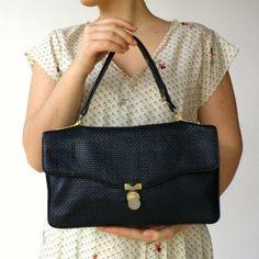 Vintage 1950s Black Rectangle Leather Handbag
