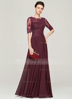 A-Line/Princess Scoop Neck Floor-Length Chiffon Lace Mother of the Bride Dress With Beading Sequins (008062570) - JenJenHouse