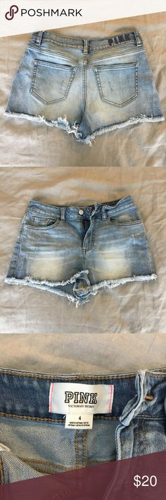 Victoria's Secret PINK Cutoff High Waisted Shorts These shorts are in great condition and they're perfect for summer! PINK Victoria's Secret Shorts Jean Shorts