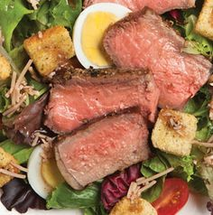 Peppered Steak Salad with Balsamic-Parmesan Dressing is a great way to stretch your grocery dollar. One 12-ounce steak can serve 4 people when it's grilled, sliced and tossed into this hearty main-dish salad.