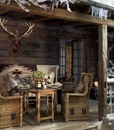Outdoor chalet, maybe consider doing a alpine theme!