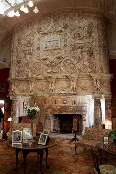 The marble fireplace in Cragside House, Northumberland, England.