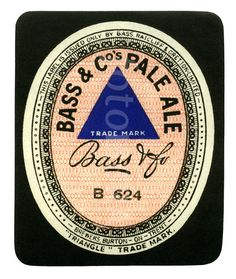 Image detail for -Old beer label Bass Pale Ale (image preview: FOT538072) | fotoLibra  --this label shows how a simple, subtle, texture, pattern, or striping adds a lot more interest than just solid color.