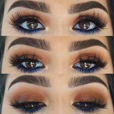 Inspired by Kylie Jenner 🍑 ➖Brows- Brow definer in dark brown ➖Eyes- lid/ crease (coral,bronzy & & palettes & lower lash line (blue) palette all via veneto black eyeliner ➖Lashes- 93 Prom Eye Makeup, Bronze Makeup, No Eyeliner Makeup, Dark Makeup, Blue Eye Makeup, Makeup For Brown Eyes, Blue Eyeliner Looks, Beauty Makeup, Dresses