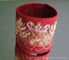 BRACELET EMBROIDERED  metallic thread.Silk embroidered, handmade, unique, by EcoDyeing on Etsy