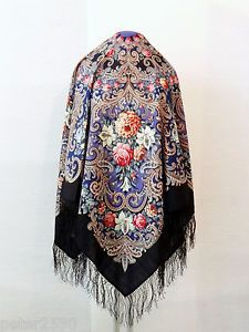 """XL Beautiful Original Pavlovo Posad (Pavloposad) Russian shawl with hand-made silk fringes.  Material: 100% wool New item with tags. Size:  49.2'' x 49.2'' / 125 cm x 125 cm (measured without fringes) Elaborate designer's shawl """"The mystery of the heart"""", created by the artist Elena Favoritova."""