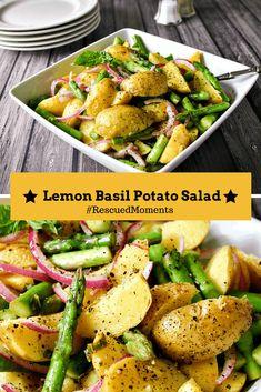 Lemon Basil Potato Salad - a summery potato salad made with Tasteful Selections honey gold potatoes and a homemade lemon basil vinaigrette. Side Dishes Easy, Side Dish Recipes, Lemon Basil Vinaigrette, Healthy Vegetable Recipes, Vegetable Carbs, Vegetarian Recipes, Main Dish Salads, How To Cook Potatoes, Side Salad