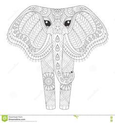 Zentangle Ornamental Elephant For Adult Coloring Pages, Hand Dra Stock Vector - Image: 71674949