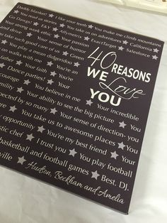 Reasons We Love You 16th 21st 30th 40th 50th 60th By Redbarncanvas Husband Birthday 75th