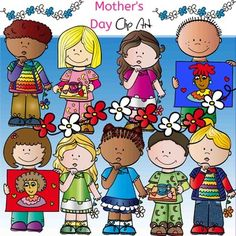 Mother's  Day Clip Art set features: 12 clip arts in color. (9 kids) 9 clip arts, black & white. (8 kids)for a total of 21 files in png. All images are 300dpi.This clipart license allows for personal, educational, and commercial small business use.