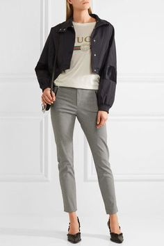 Black and white cotton-blend Concealed hook and zip fastening at front 61% cotton, 35% polyamide, 4% elastane  Dry clean ImportedSmall to size. See Size & Fit notes.