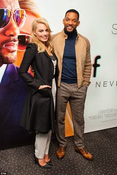 Will Smith looked happy to be back in the UK as he made a cheerful appearance at a special screening for his new film, Focus, on Wednesday evening with his co-star Margot Robbie