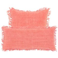 #PineConeHill Laundered Linen Coral Decorative Pillow. Looking for a supersoft, supervibrant take on the linen pillow? Relax with this easy beauty.
