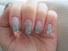 Gradient Glitter Nails: Add loose glitter to tips. So cute, can't wait to try
