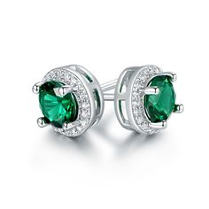 Gold Plated Round Nano Emerald Stud Earrings