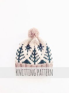 PATTERN for Pompom Winter Ski Fair Isle Patterned Alpine Beanie Cap Hat…
