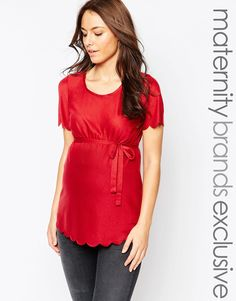 Image 1 ofMamalicious Jersey Tee With Scalloped Edges