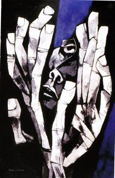 Manos de la esperanza (1974) Oleo sobre tela 70 x 105 cm