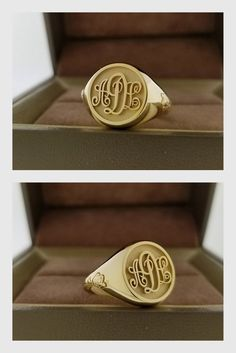 9fc2e74bb248 Monogram ring rose gold 14K, yellow gold, white gold available,  personalized ring, signet ring
