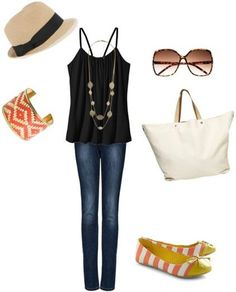 Bring your jeans and tank into the summer   season with a few pops of color. The striped flats and decorated bangle will   keep the look from being too wintery, illustrating how changing a few   accessories can completely update a look. The white tote against the dark   clothes will create an eye-catching contrast and the fedora and sunglasses will   make sure that this outfit works for a sunny summer day.