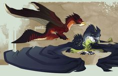 Pointless Dragons by ~PootDamnYou on deviantART Mythical Creatures Art, Fantasy Creatures, Creature Drawings, Wolf Drawings, Cool Dragons, Dragon Artwork, Dragon Pictures, Creature Concept, Monster Art