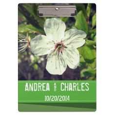 White Blossom Personalized Wedding Clipboard - spring wedding diy marriage customize personalize couple idea individuel
