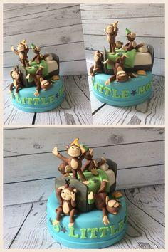 5 Little Monkeys Jumping On The Bed Boys 1st Birthday Cake Monkey Cakes