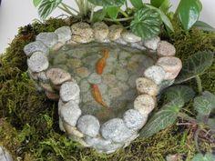 More Than 73 Fairy Garden Koi Pond Miniature With Artificial Water ! Fairy Garden Koi Pond miniature with artificial water ! Fairy Garden Furniture, Fairy Garden Houses, Fairy Gardening, Garden Crafts, Garden Projects, Garden Ideas, Garden Tips, Water Terrarium, Fairy Garden Accessories