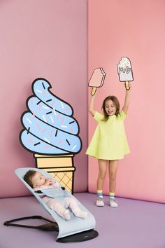 New Ice cream collection by BabyBjorn available from June exclusively at John Lewis Bouncer Balance Soft - Blue Mint, Cotton Kids Fashion Photography, Children Photography, Decoration Chic, Photo Zone, Baby Bjorn, Ice Cream Party, Diy Décoration, Party Props, Photo Booth