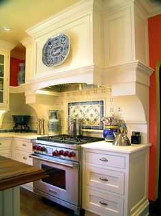 This is it.   This is the kitchen I want.  A blue and white Tudor style kitchen in my dream Tudor style home.  Check out the rest of the pics too!