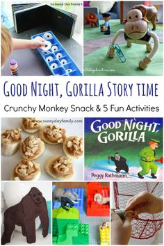Everything you need for a Good Night, Gorilla story time including a yummy snack and 5 fun extension activities!We love the storytelling basket.Good Night Gorilla is on our 100 Stories Before School booklist.Download on our website.