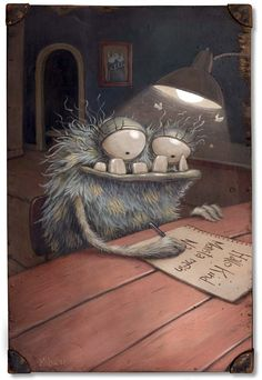 To write letters .- … Briefe schreiben … … To write letters … - Cute Monsters, Little Monsters, Arte Robot, Arte Sketchbook, Arte Horror, Wow Art, Monster Art, Whimsical Art, Cute Art