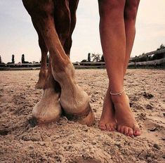 Bare feet and horse hooves in the sand. So sweet! Creative horse photography!