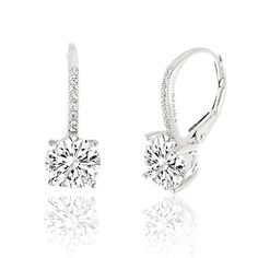 3aef1f664 Amazon.com: SPECIAL OFFER 18K Rose Gold Over Sterling Silver Round Cubic  Zirconia Drop Leverback Earrings: Jewelry