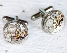 Men Steampunk Cufflinks  Rare Silver Watch by TimeInFantasy, $52.00