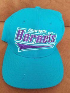 bc889f0387b Vtg Charlotte Hornets Script Hat Starter NBA Basketball size 2 fitted Cap   Starter  CharlotteHornets