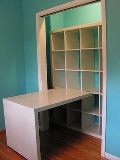 craft closet with IKEA shelves & desk