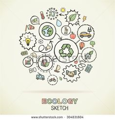 Ecology hand drawing integrated icons. Vector doodle connected pictogram set: sketch interaction illustration on paper: eco friendly, energy, environment, green, recycle, bio and global concepts