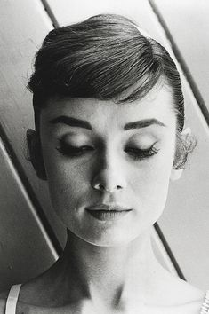Audrey Hepburn in hair test shots for 'War and Peace' in 1955