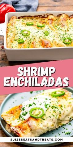 These Shrimp Enchiladas are filled with tender, flavorful shrimp then topped with a delicious homemade creamy sauce. It's the perfect quick, easy weeknight meal if you love shrimp and Tex-Mex!#shrimp… More Mexican Cooking, Mexican Food Recipes, New Recipes, Mexican Meals, Cooking Recipes, Favorite Recipes, Mexican Dishes, Ethnic Recipes, Seafood Dishes