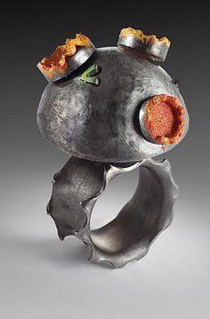 Ring   Susan Skoczen.  Oxidized sterling silver, paint, flocking